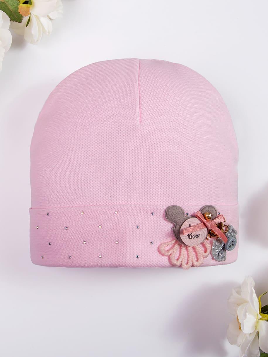 Шапка трикотажная формы лопата для девочки, на отвороте стразы и мышка с бантиком, розовый