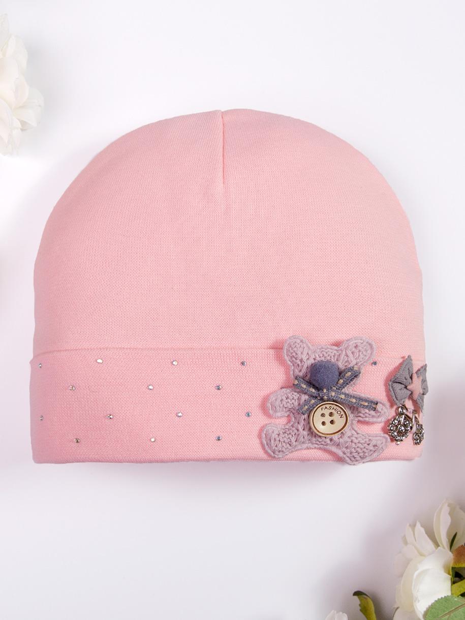 Шапка трикотажная формы лопата для девочки, на отвороте стразы и розовый мишка, персиковый