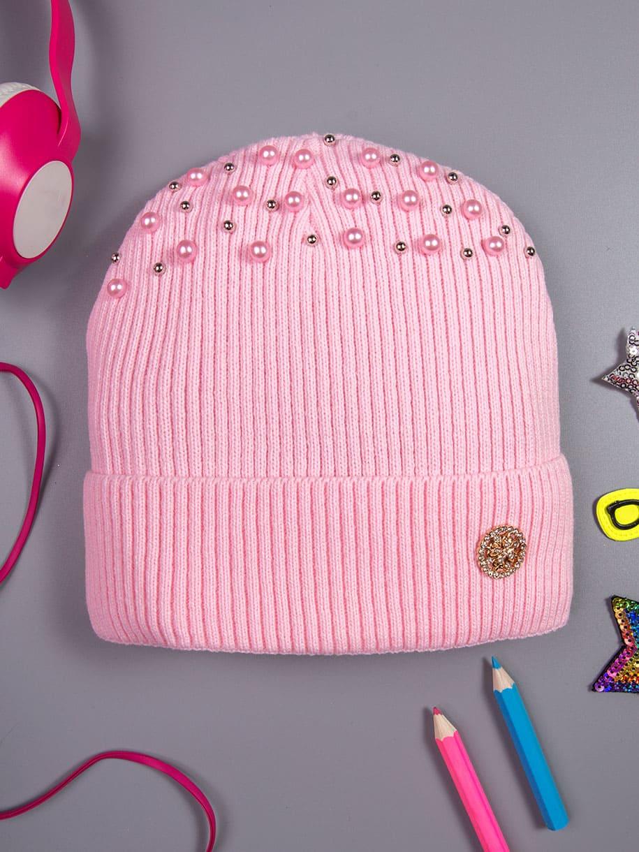 Шапка вязаная формы лопата для девочки, цветные бусины, на отвороте брошь, светло-розовый