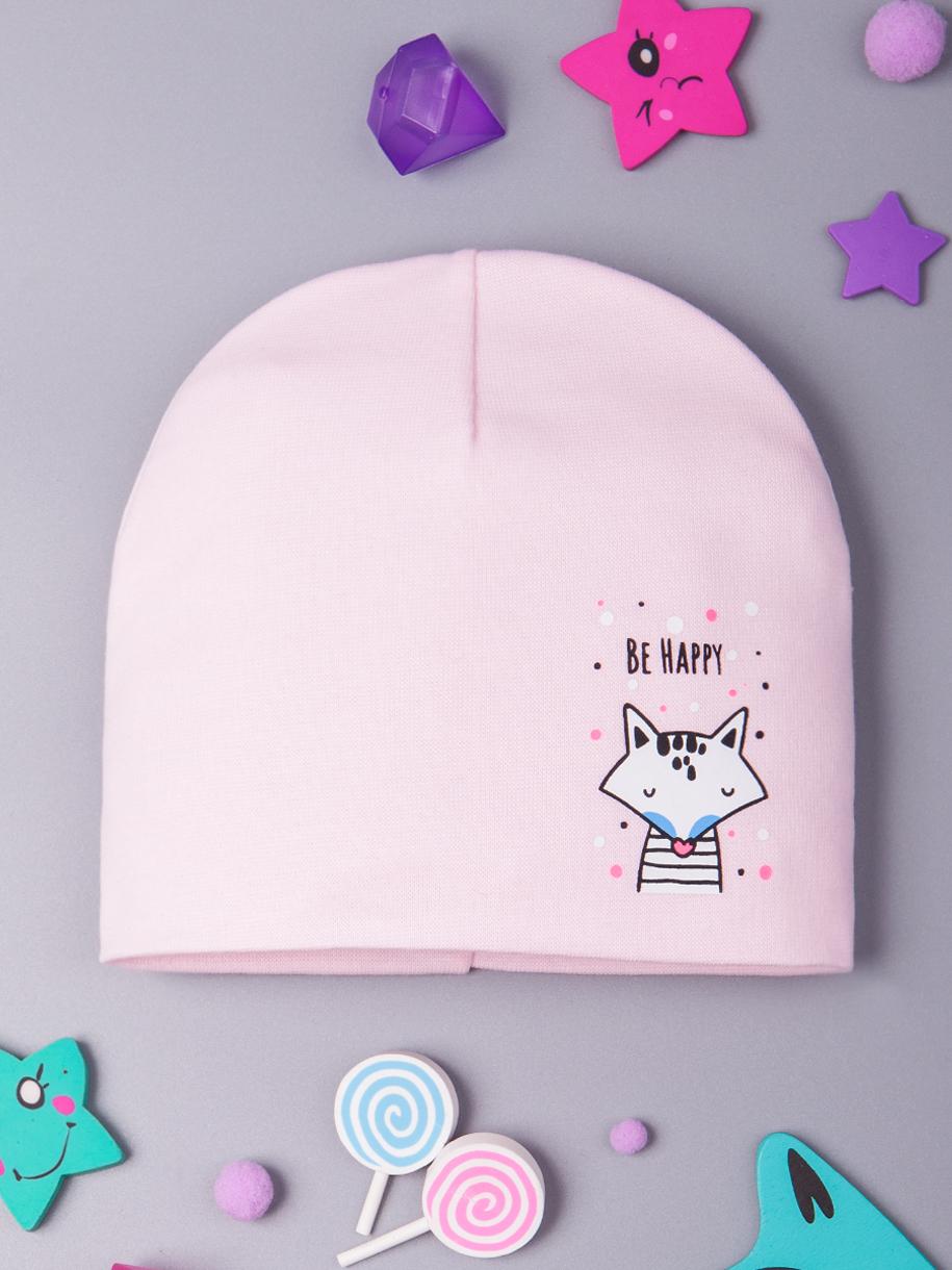 Шапка трикотажная для девочки формы лопата, лисичка, светло-розовый