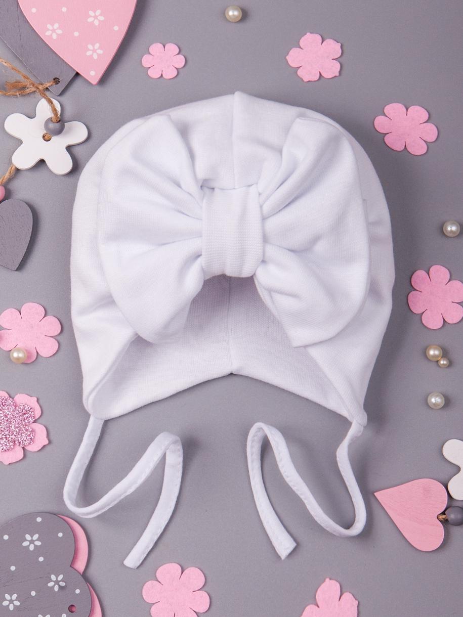 Чалма трикотажная для девочки с бантом на завязках, белый
