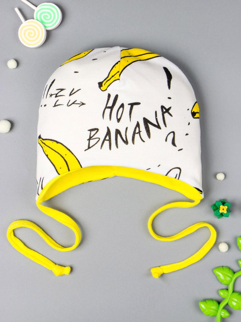 Шапка для девочки на завязках, бананы, желтый