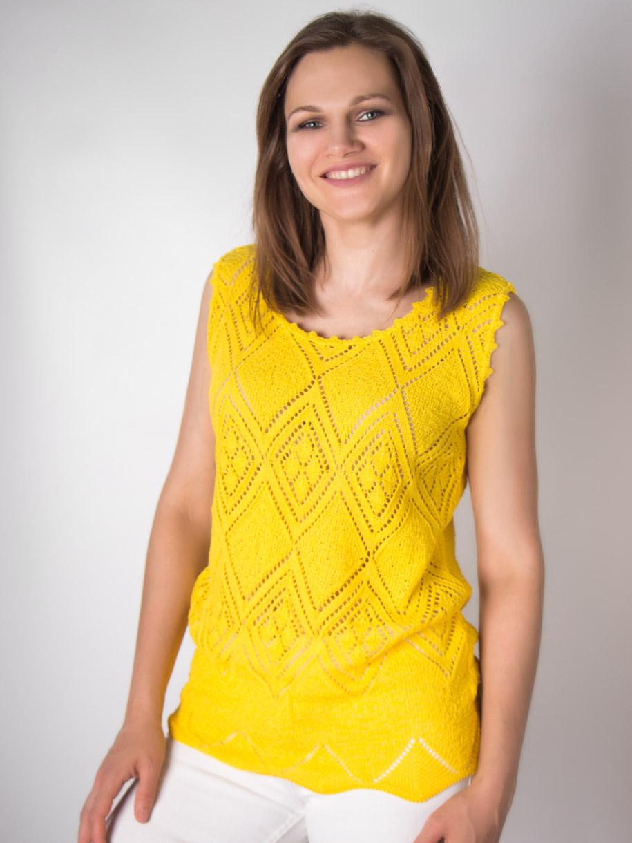 Кофта вязаная женская однотонная, ромбики, желтый