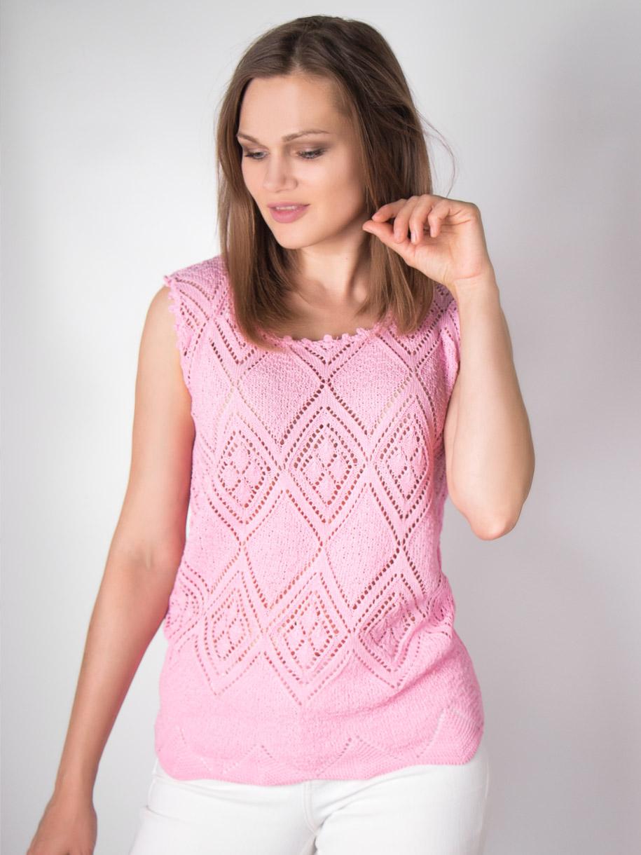 Кофта вязаная женская однотонная, ромбики, розовый