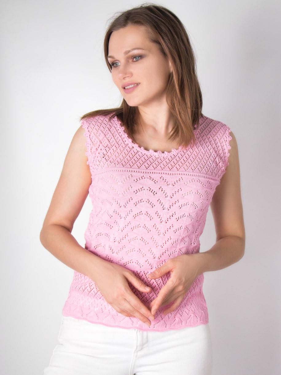 Кофта вязаная женская однотонная, волны, розовый