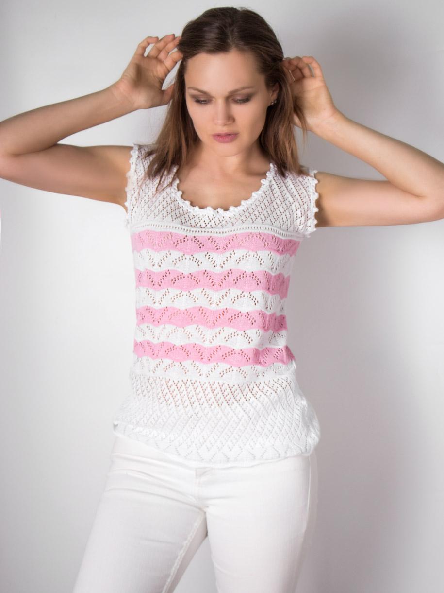Кофта вязаная женская однотонная, цветные полоски, розовый