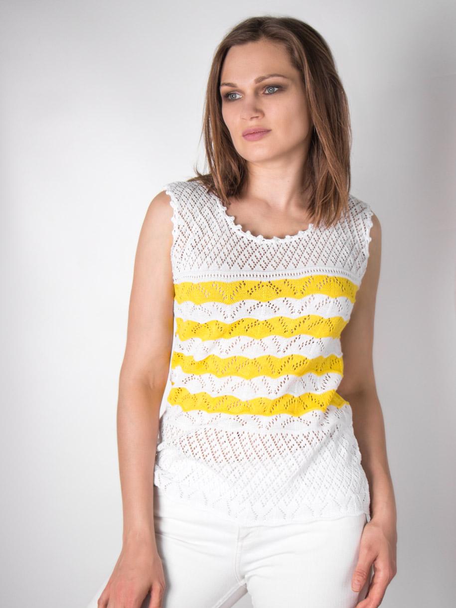 Кофта вязаная женская однотонная, цветные полоски, желтый