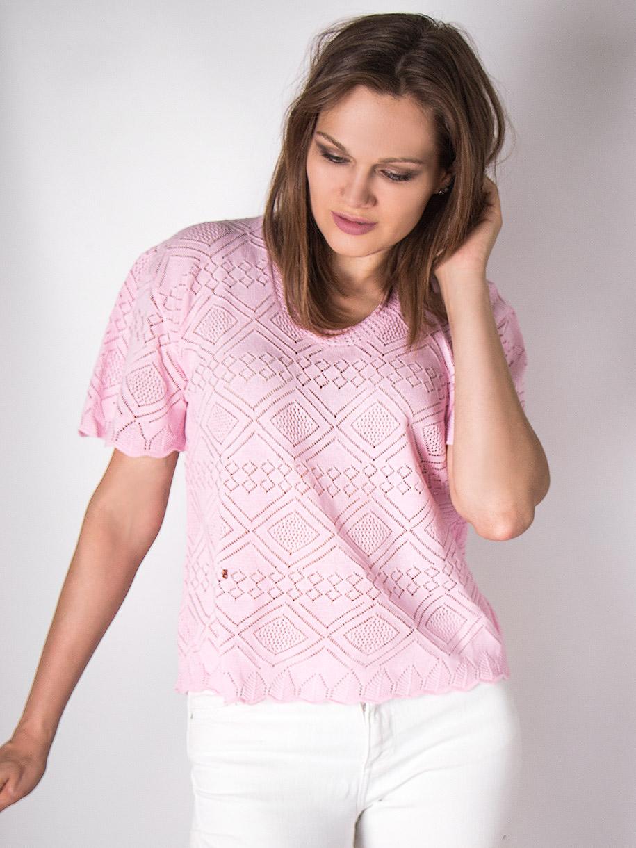 Кофта вязаная женская однотонная с короткими рукавами, ромбики, розовый