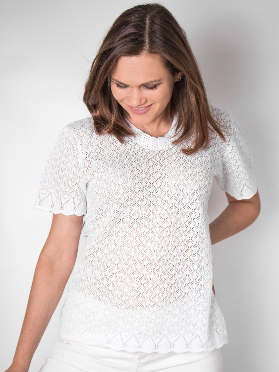 Кофта вязаная женская однотонная с короткими рукавами, белый