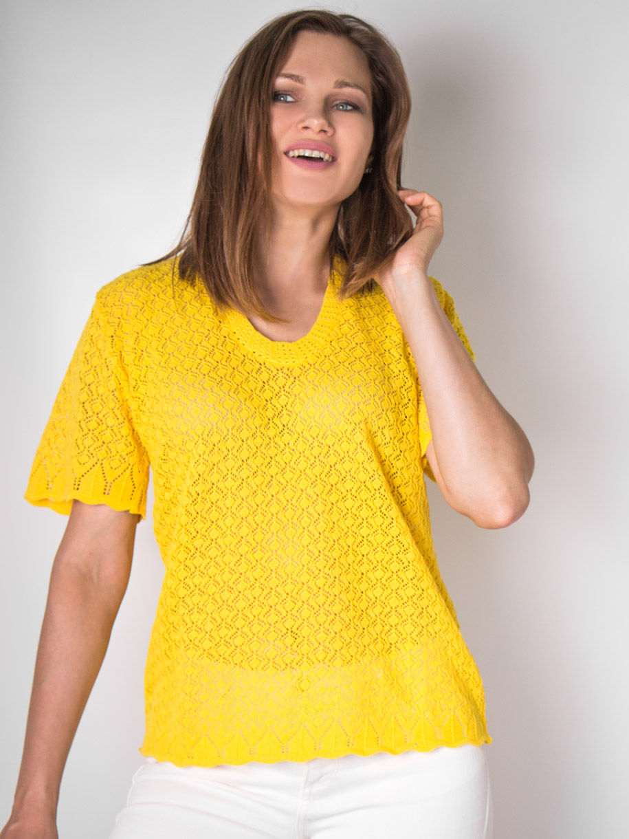 Кофта вязаная женская однотонная с короткими рукавами, желтый