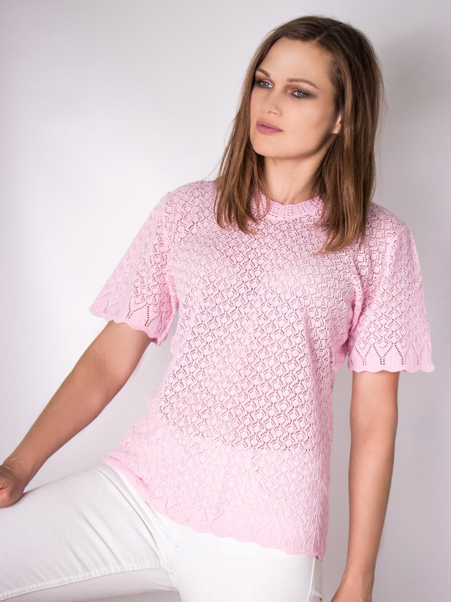 Кофта вязаная женская однотонная с короткими рукавами, светло-розовый