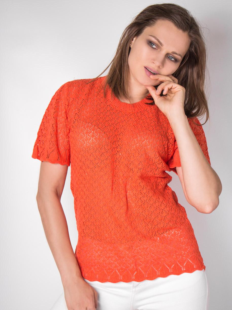 Кофта вязаная женская однотонная с короткими рукавами, оранжевый