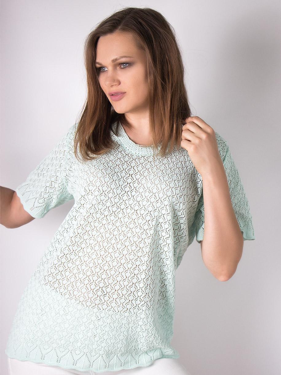 Кофта вязаная женская однотонная с короткими рукавами, мятный