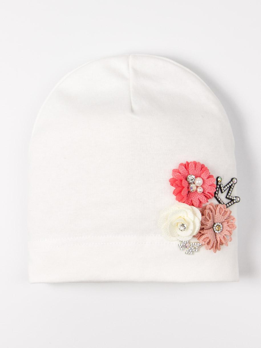 Шапка трикотажная для девочки формы лопата, три цветка и корона, молочный