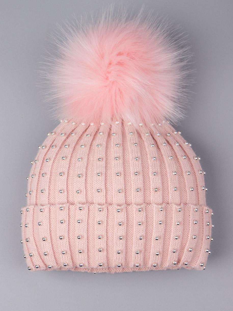 Шапка вязаная для девочки с помпоном, лапша, серебряные бусинки, бледно-розоватый