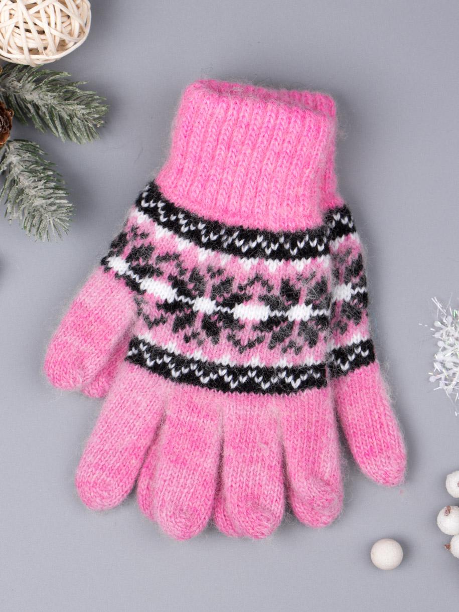 Перчатки вязаные для девочки, снежинки, розовый