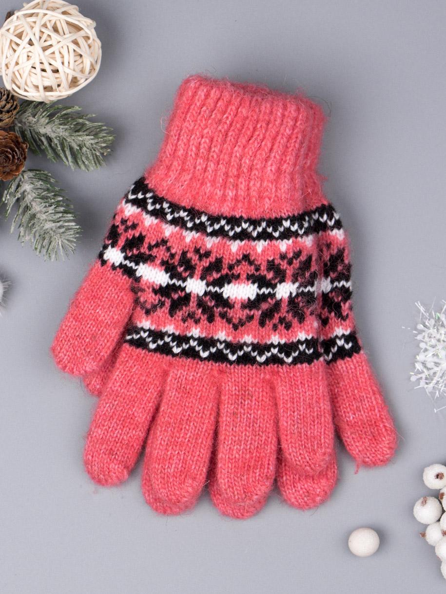 Перчатки вязаные для девочки, снежинки, коралловый