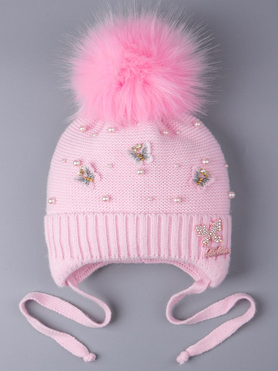 Шапка вязаная для девочки с помпоном на завязках, бабочки, бусинки, светло-розовый