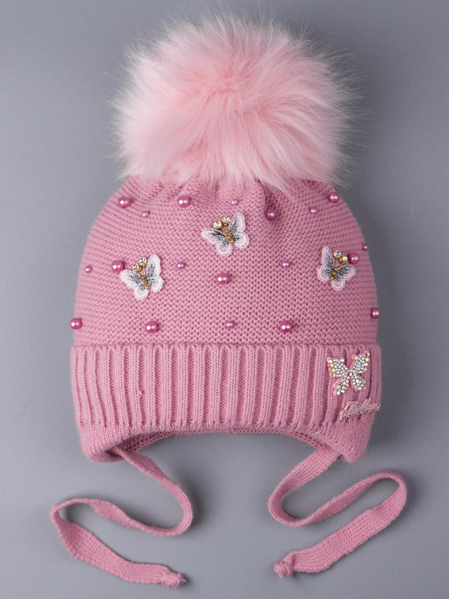 Шапка вязаная для девочки с помпоном на завязках, бабочки, бусинки, темно-розовый