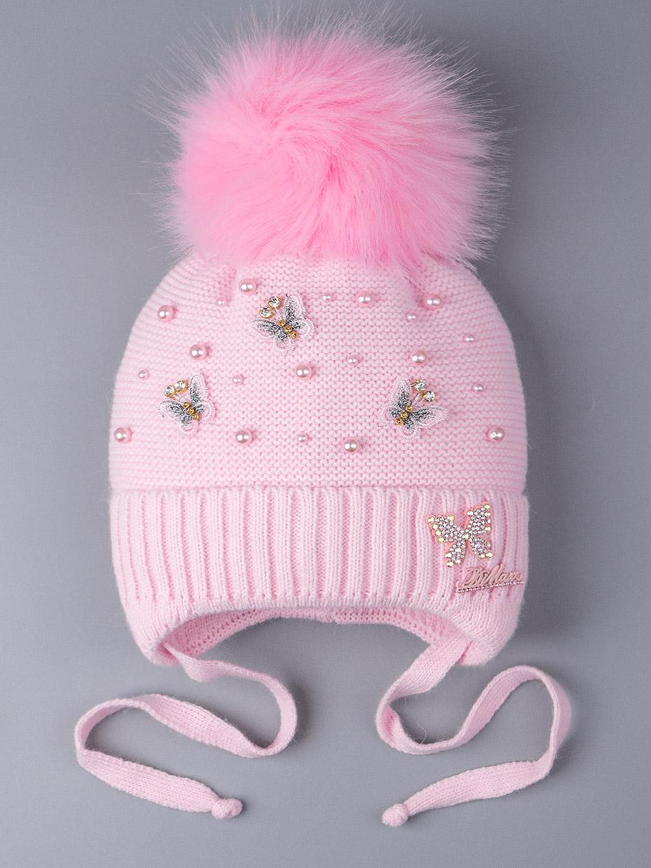 Шапка вязаная для девочки с помпоном на завязках, бабочки, бусинки, пастельно-розовый
