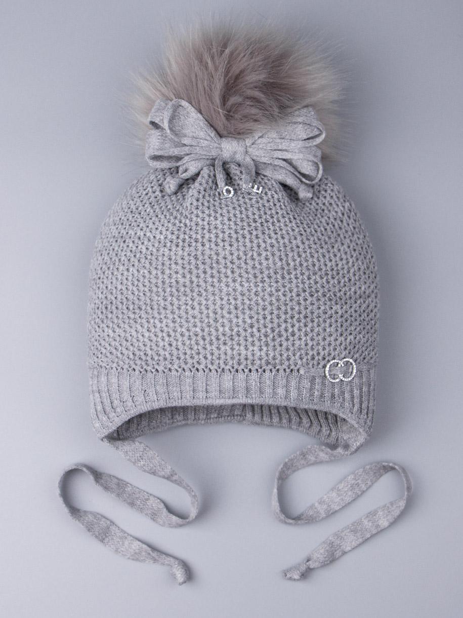 Шапка вязаная для девочки с помпоном на завязках, сбоку два колечка, серый