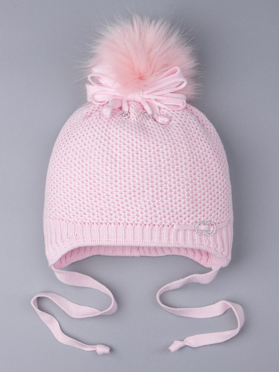 Шапка вязаная для девочки с помпоном на завязках, сбоку два колечка, светло-розовый