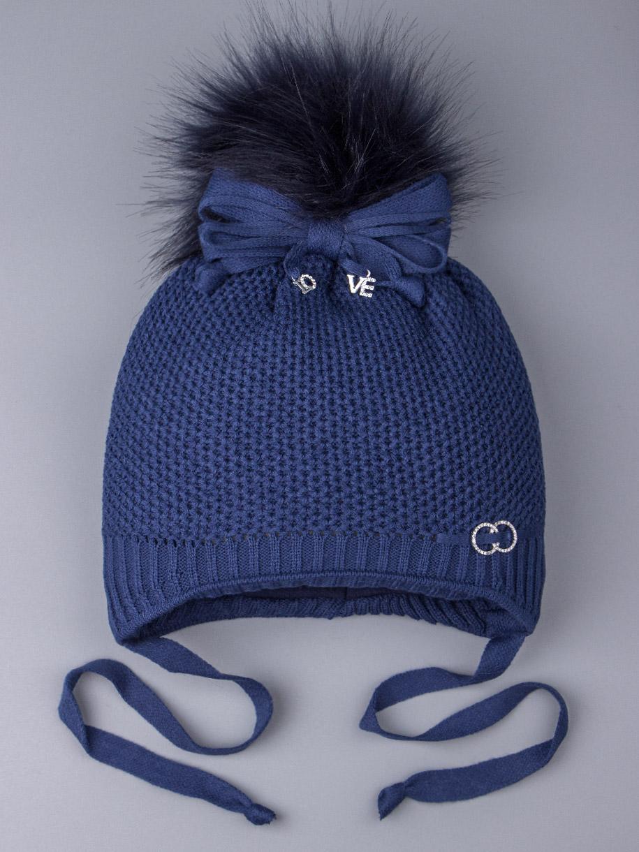 Шапка вязаная для девочки с помпоном на завязках, сбоку два колечка, синий