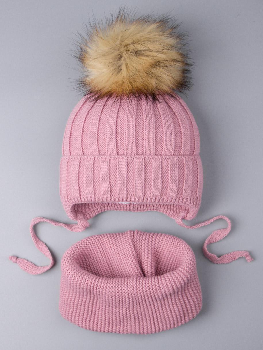 Шапка вязаная для девочки с помпоном на завязках, лапша + снуд, тускло-розовый