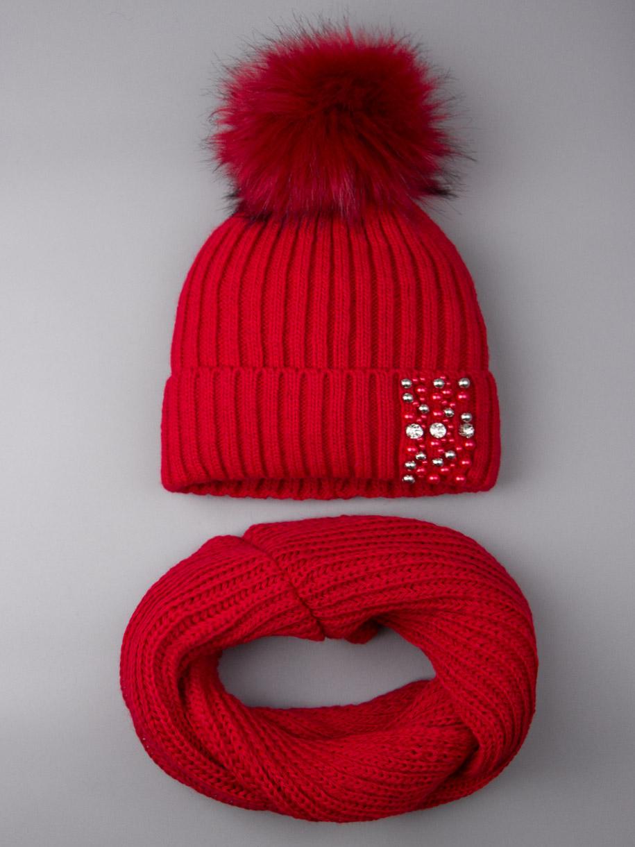Шапка вязаная для девочки с помпоном, на отвороте бусинки+снуд, красный