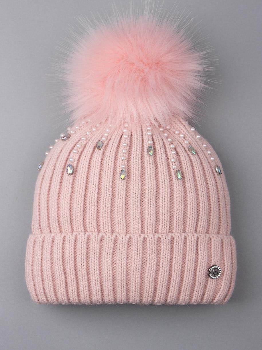 Шапка вязаная для девочки с помпоном, дождик из бусин, тускло-розовый