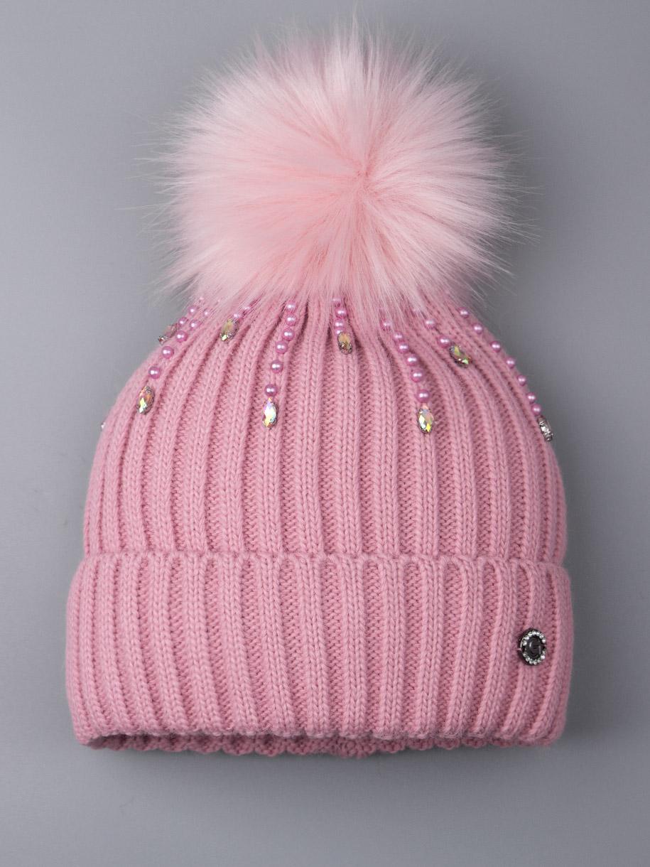 Шапка вязаная для девочки с помпоном, дождик из бусин, розовый