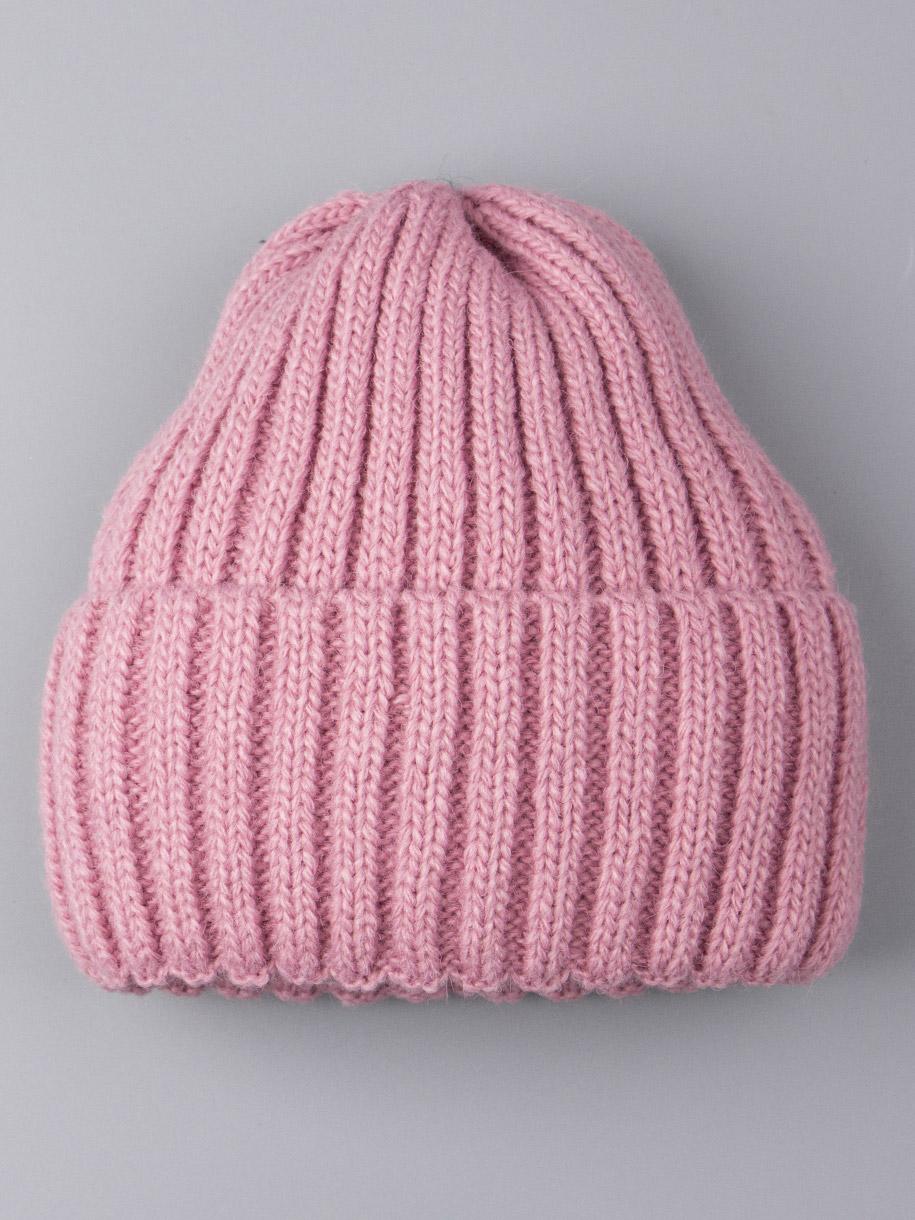 Шапка вязаная детская, лапша с отворотом, бледно-розовый