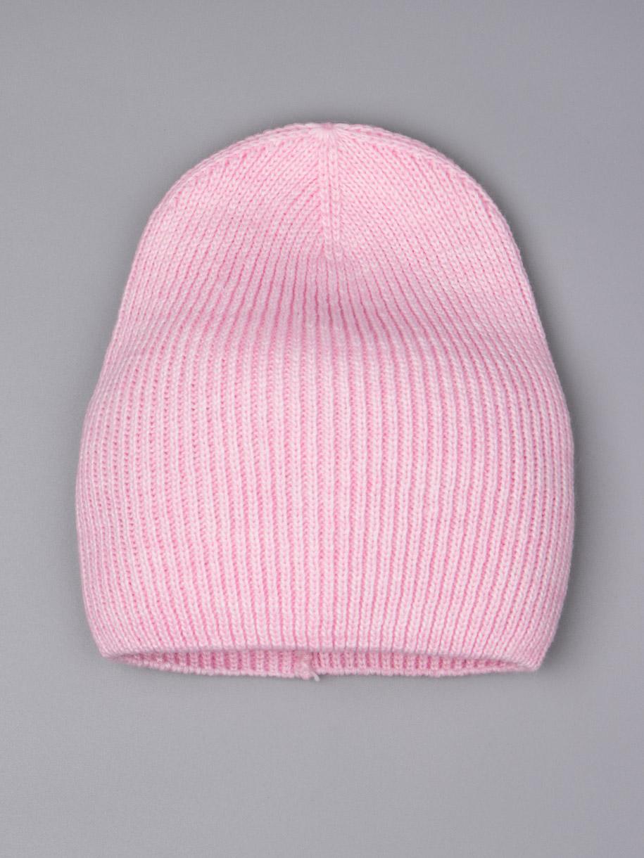 Шапка вязаная подростковая для девочки, розовый